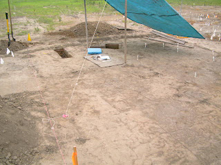 Surface features and small excavation pits at the Carson Mound Complex Site in Mississippi