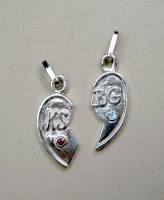 Handmade heart pendant in sterling silver with gemstones by Payne's Custom Jewelry