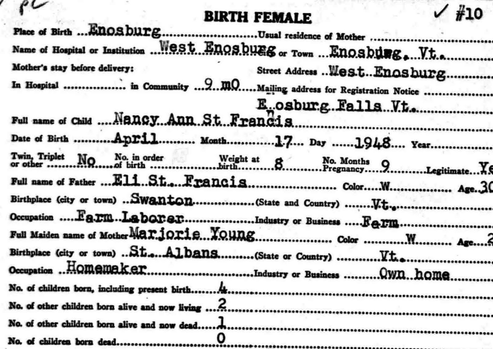 The reinvention of the alleged vermont and new hampshire abenakis birth record card for nancy ann nee st francis dated april 17 1948 in enosburg franklin county vermont her parents were eli st francis who was aiddatafo Choice Image