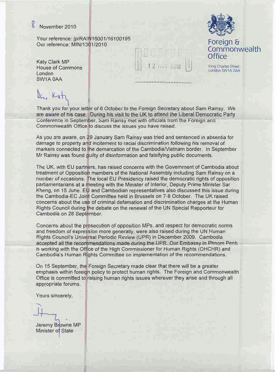 Ki media uk foreign and commonwealth office minister 39 s letter regarding sam rainsy - British foreign commonwealth office ...