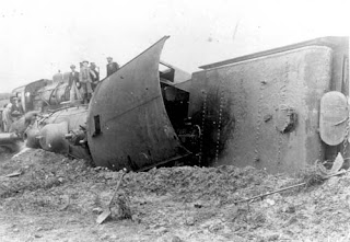 View of a railroad wreck.  Date and Location Unknown.