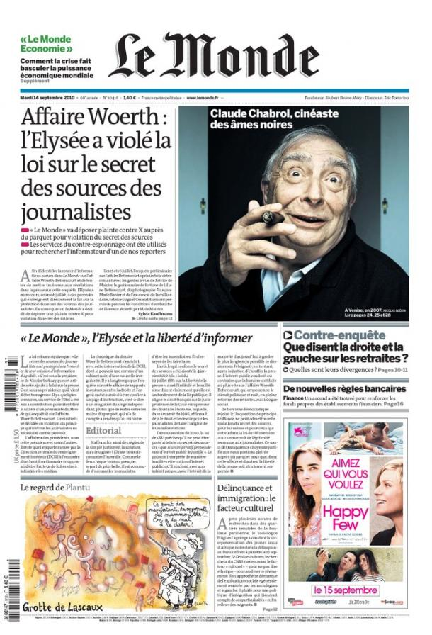 Monde Espionnage Elysée affaire Woerth Bettencourt