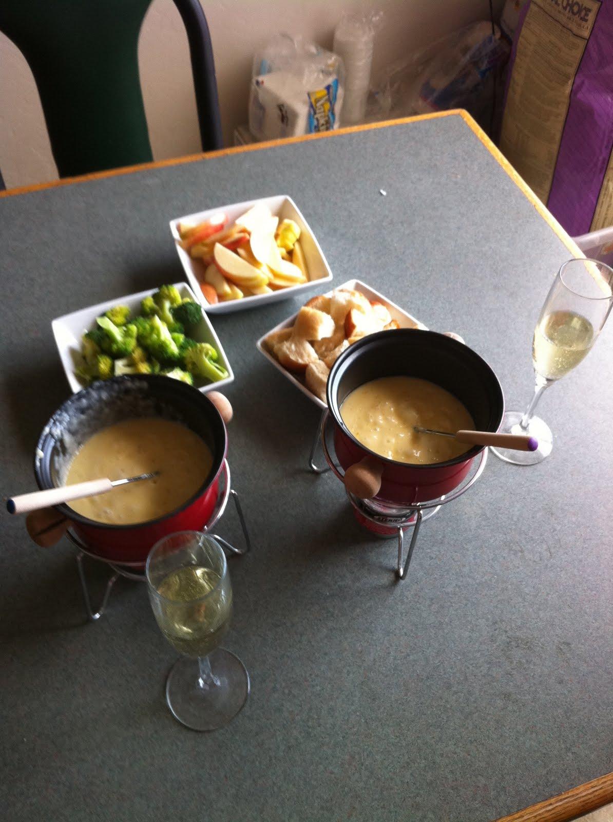 Three cheese (Brie, Gruyere, Fontina) fondue with Champagne