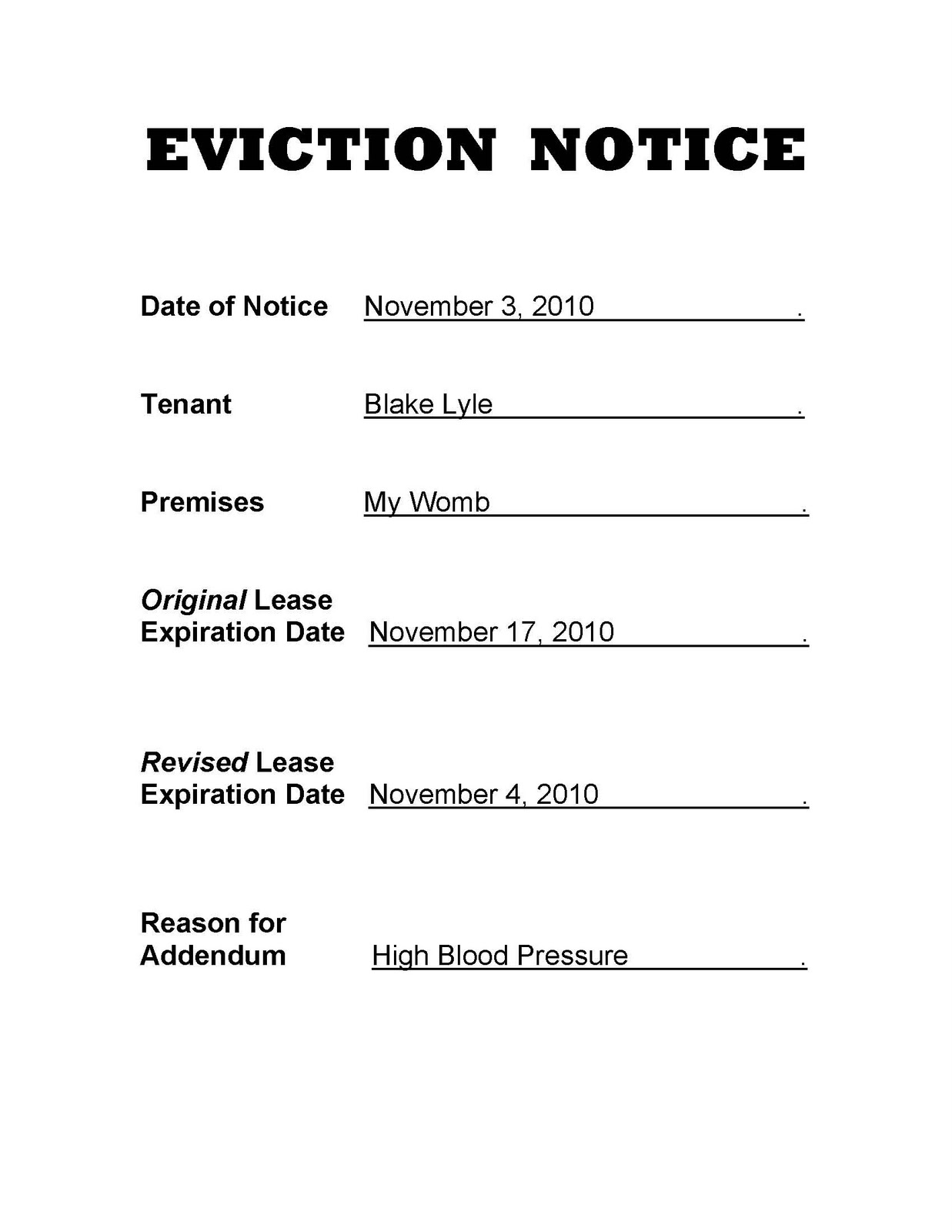 10 Day Eviction Notice Pennsylvania http://lylelife.blogspot.com/2010 ...