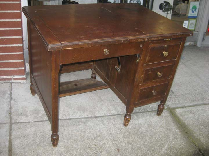 SOLD - Old Wooden Typewriter Desk - $50 - UHURU FURNITURE & COLLECTIBLES: SOLD - Old Wooden Typewriter Desk
