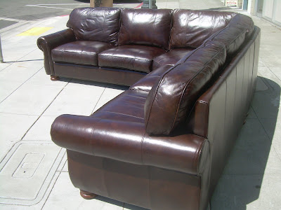 SOLD   Thomasville Leather Sectional Sofa   $2400
