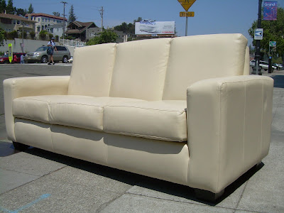 UHURU FURNITURE & COLLECTIBLES: SOLD - Leather Factory Sofa ...