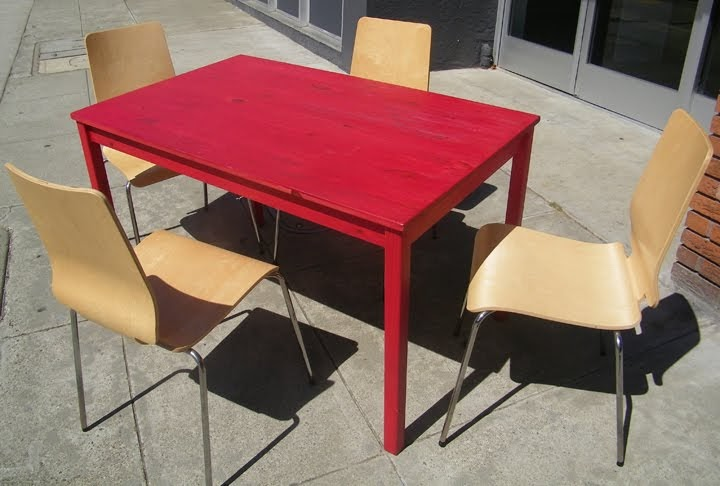 UHURU FURNITURE amp COLLECTIBLES SOLD Painted Ikea Pine  : tablered2Bmodernchairsset from uhurufurniture.blogspot.com size 720 x 486 jpeg 57kB
