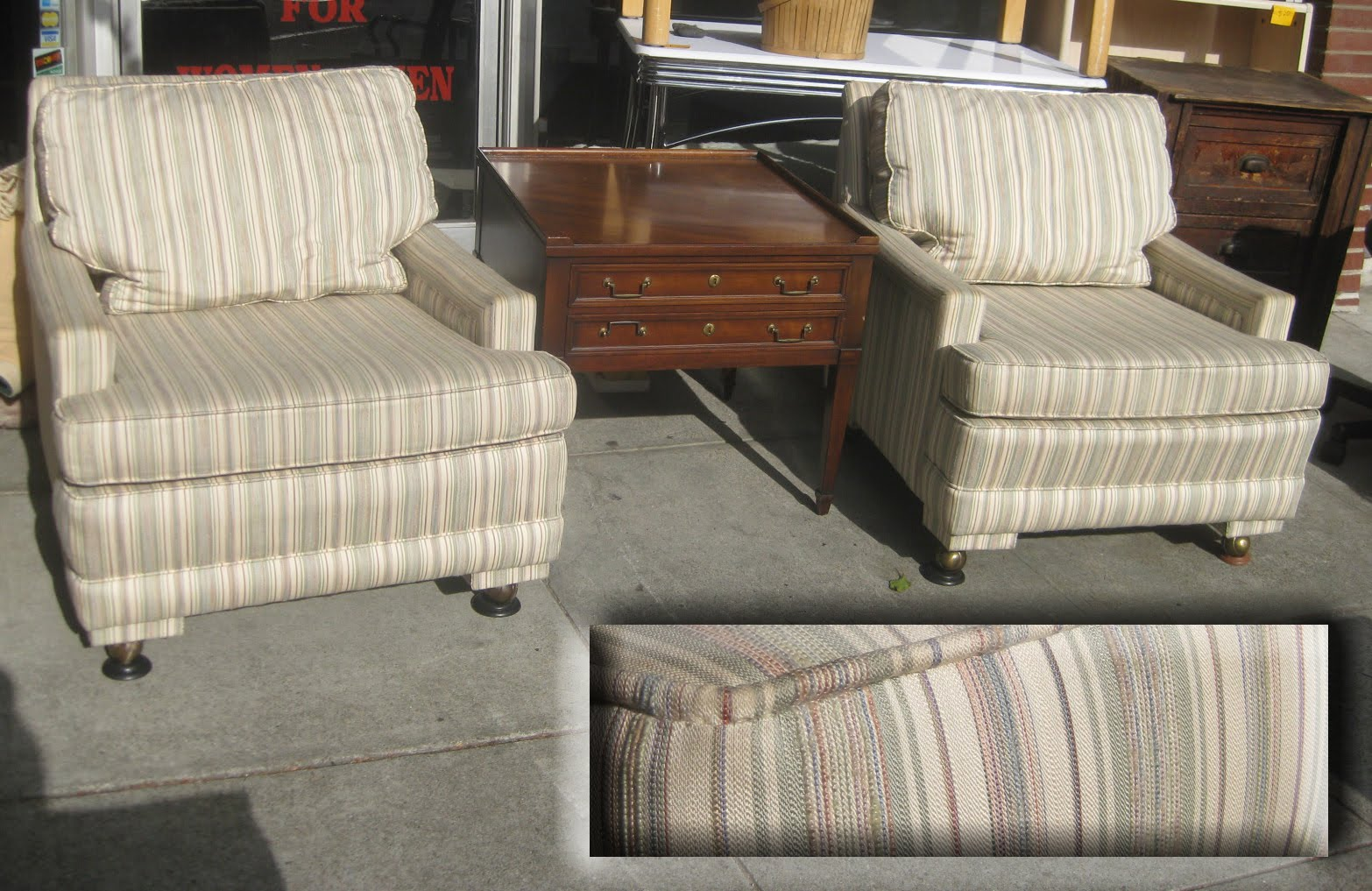 & COLLECTIBLES: SOLD - Pair of Striped Living Room Chairs - $165