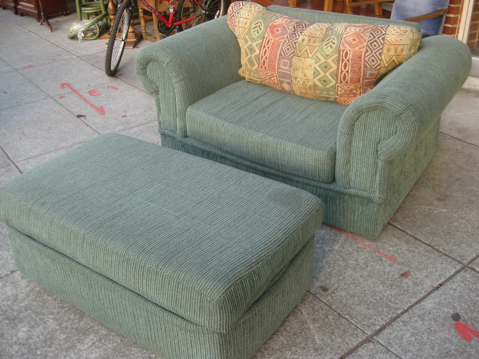UHURU FURNITURE & COLLECTIBLES: SOLD - Oversized Chair and Ottoman