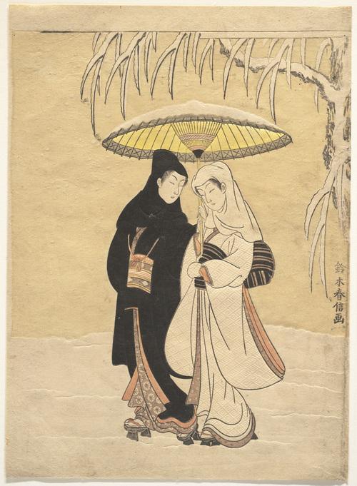 Suzuki Harunobu Lovers Walking In The Snow