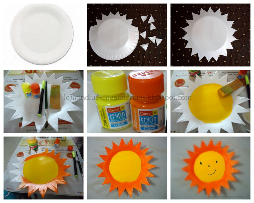 StyrofoamPlateCraft | Thermocol Styrofoam Plate Sun | Thermocol Crafts