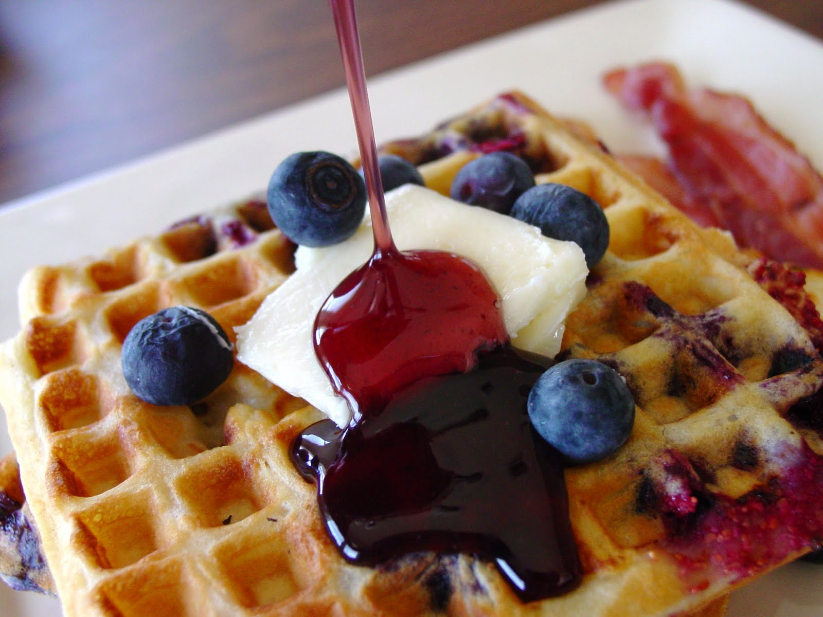 Berry Sour Cream Waffles adapted from A Feast For The Eyes