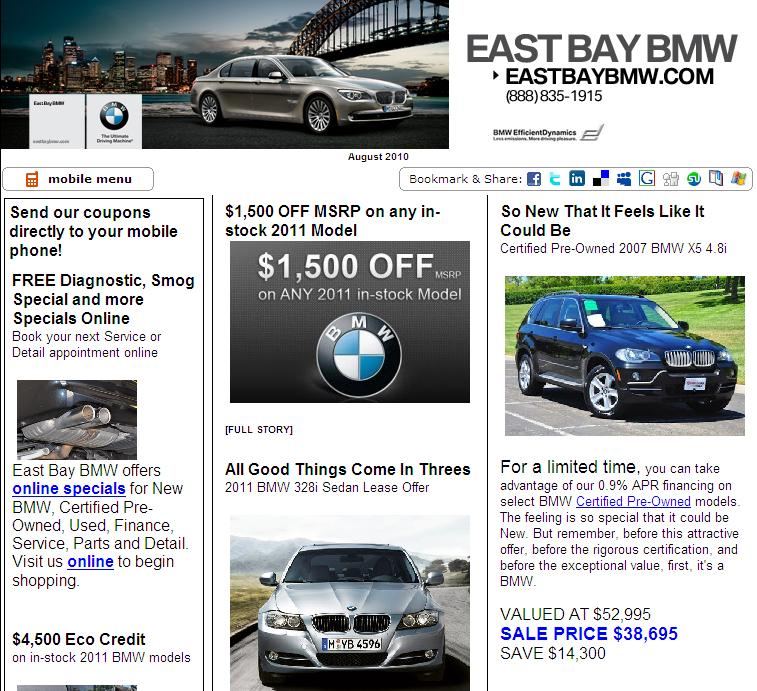 East Bay BMW is located in Pleasanton, CA across from the Pleasanton