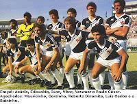Foto do time do Vasco em 1985 com patrocínio da Golden Cross