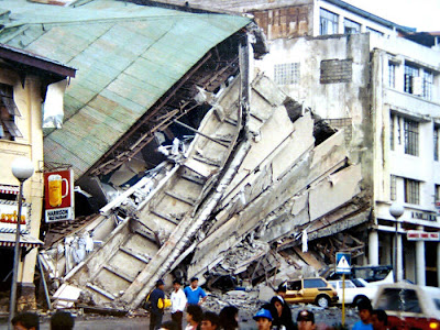 Image of the destruction caused by the July 16, 1990 killer quake in Baguio City