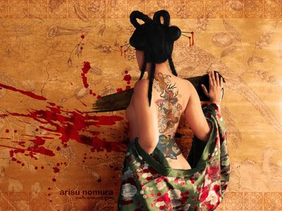 the girl in this wallpaper is show how the cool of tattoos art design back
