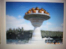 la route qui mène de Nabeul à Hammamet s'ouvre sur ce plat géant d'oranges