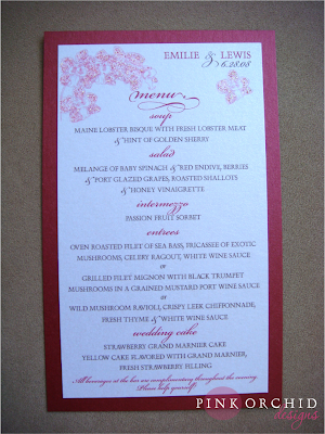 Pink Orchid Weddings Menu Cards For The Guests And The Kids