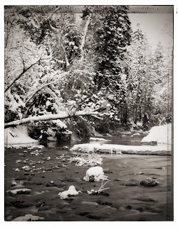Type 55 Polaroid - American Fork Canyon River - Black and white photography