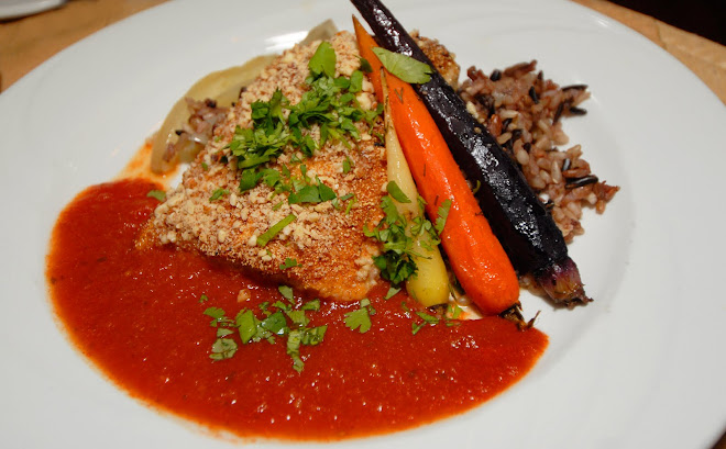 Almond Crusted Artic Char, Smoked Tomato and Cilantro Sauce.