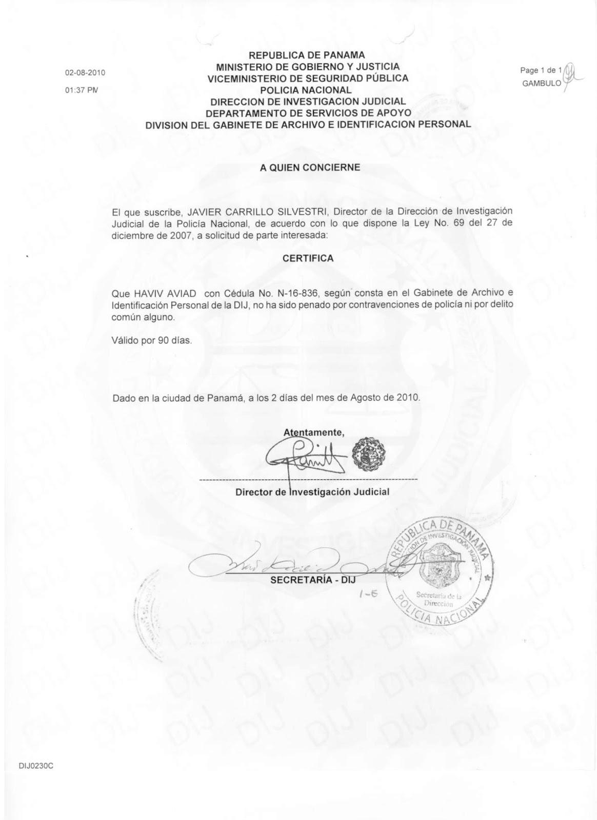 Record policivos ministerio de gobierno y justicia de panam for Ministerio de gobernacion