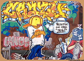 Graffiti Canvas Crazy with Cartoon Design Image