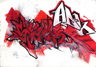 graffiti alphabet bombing red color