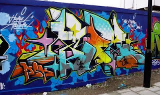 Graffiti Alphabet Letters Full Color on the Wall