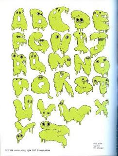 Green graffiti bubble letter a-z