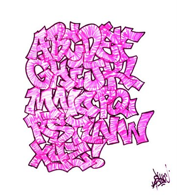 Graffiti Alphabet A-Z with Purple Color is the letter with graffiti