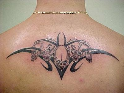 Upper Back Tribal Tattoo