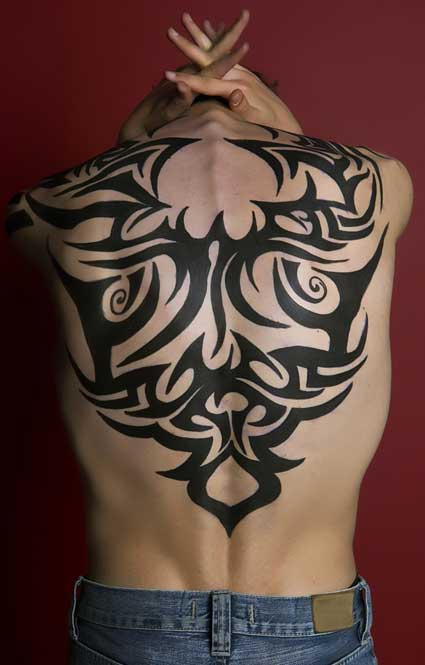 tribal tattoos on back. Full Back Tribal Tattoo Design