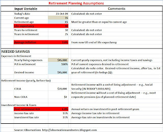 Retirement planning assumptions for Excel spreadsheet/calculator