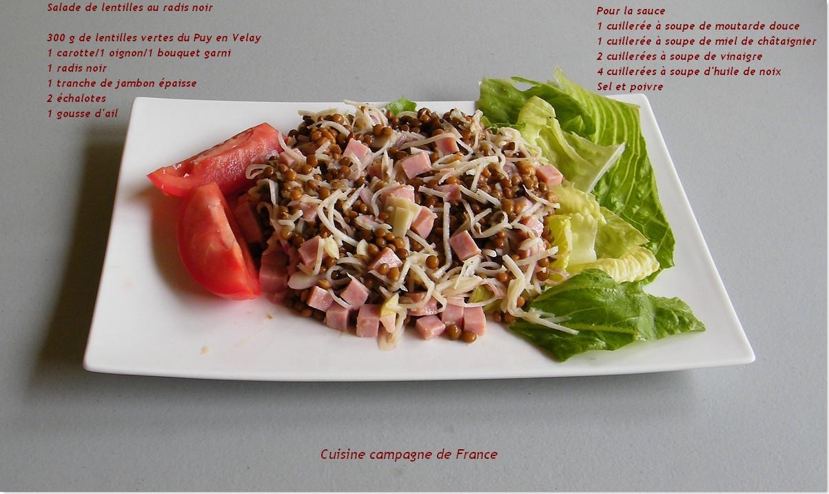 Cuisine et campagne de france salade de lentilles au - Cuisiner un radis noir ...