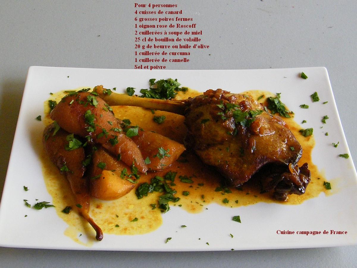 Cuisine et campagne de france cuisses de canard aux poires - Recette de cuisse de canard en sauce ...