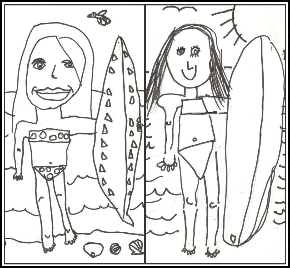 surfing girl coloring pages - photo#21
