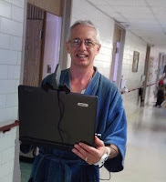 Rob walking the hospital hallways, looking for a WiFi signal