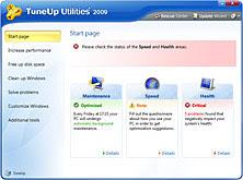TuneUp Start page