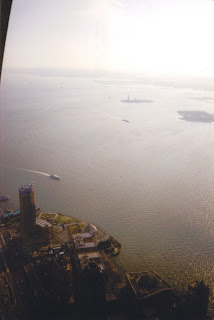 Battery Park and Liberty Island from Observation Deck on WTC2, March 2001- Matt Carden Photo