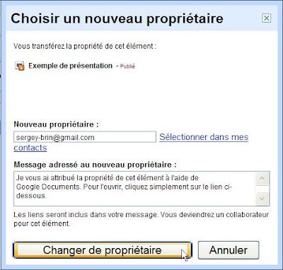 modifier le propriétaire d'un document google docs