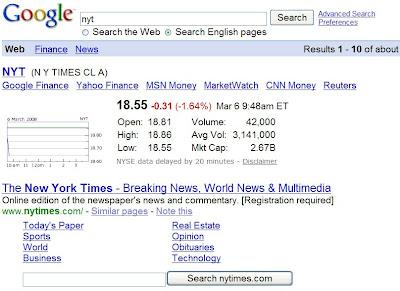 onebox de recherche dans google