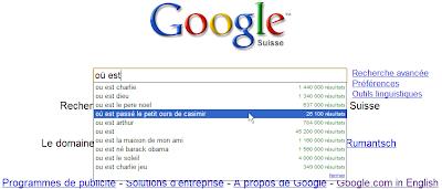 Google Suggest fonctionne selon votre localisation géographique