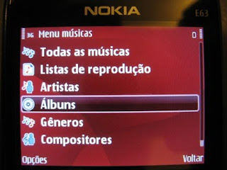 Tela inicial do Music Player do Nokia E63