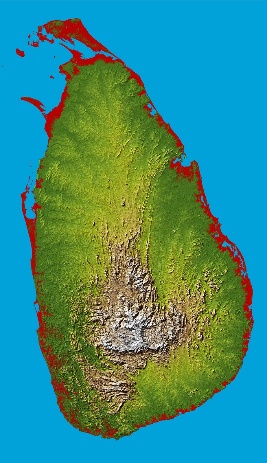 the topography of our nation is well shown in this color coded shaded relief map generated with digital elevation data from the shuttle radar topography