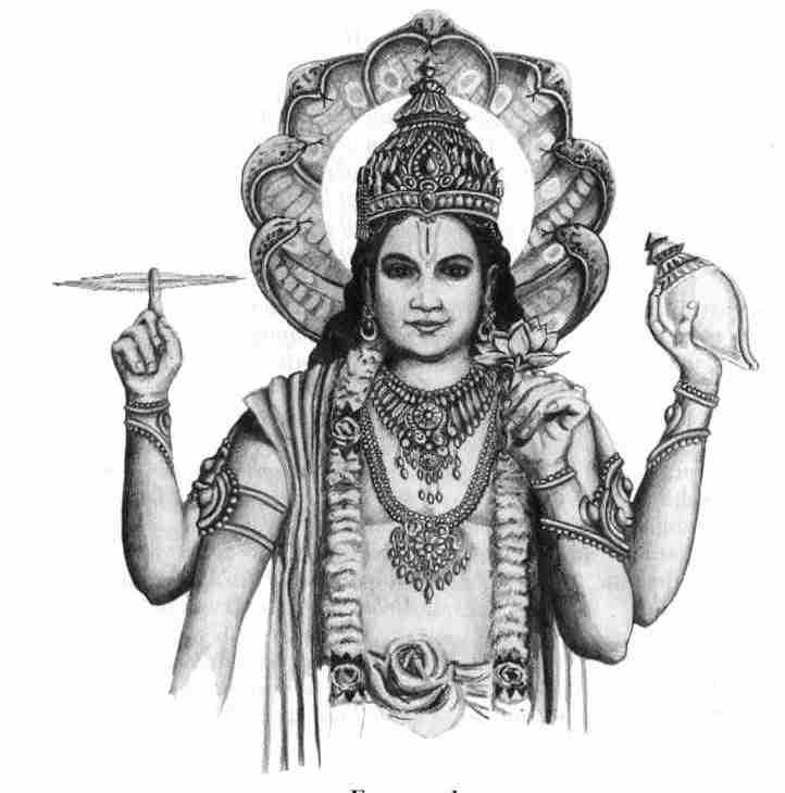 Lakshmi giving Vishnu Foot