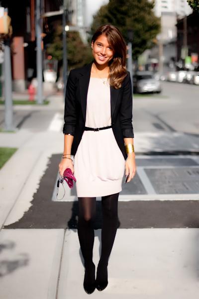 Vestido blanco y medias negras - 4estilos.com