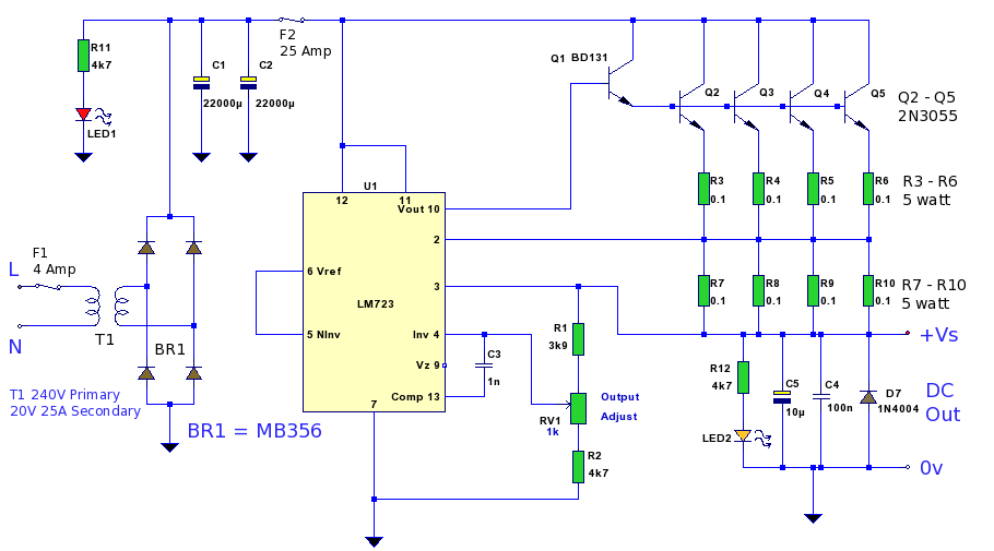 0 12vdc Regulated Power Supply With Schematic Diagram furthermore Lm317 Linear Power Supply Regulator Selector 15v3v45v5v6v9v 15a additionally Power additionally Add Variable Voltage To Your ATX Based Bench Power Supply additionally 24v To 12v Converter. on variable power supply lm317 voltage regulator