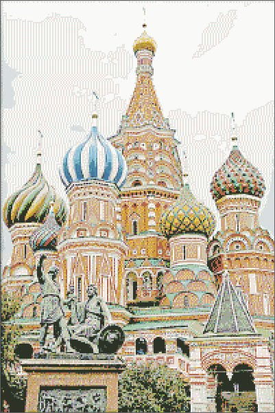St Basil red square free cross stitch pattern by Thomas Gallery