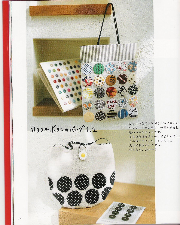 Patrones bolsos de tela con apliques circulares